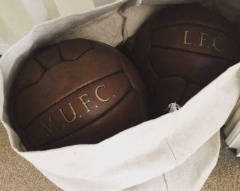 Mini Vintage style personalised leather Football / Soccer ball