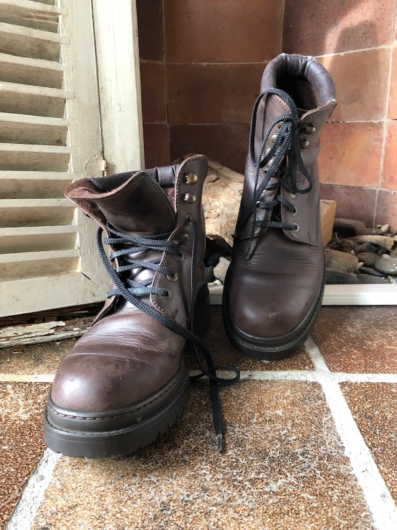 boots boots CAMEL boots leather vintage 39eu ankle 6uk lace up real BwFRnTP