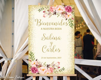 Bienvenidos a Nuestra Boda, Welcome To Our Wedding Sign, Ivory Gold Welcome Wedding Sign, Spanish Sign, Gold Welcome Sign, W23