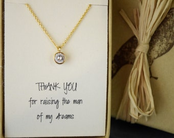 Mother of the Groom Gift, Thanks for Raising the Man of my Dreams, CZ Diamond Solitaire Necklace with Sentiment Card, Mothers Necklace