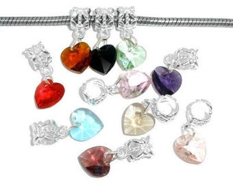 x 10 mixed pendant/charm 10 Crystal heart colors 24 x 10 mm