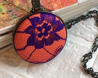 Fabric button pendant   Necklace   Button pendant   Button necklace   covered button   purple lace fabric    orange fabric Ready to ship