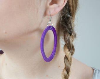 Leather gypsy earrings, purple hoop earrings, Geometric jewelry, Bohemian earrings, Boho, flashy earring, minimal geometric, gift for her