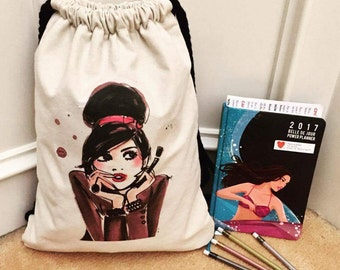 Quintos Medium Upgraded String Backpack with Lining, zippered and slip pockets - PDF Sewing Pattern