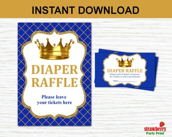 Prince Diaper Raffle Tickets, Royal Prince Baby Shower, Royal Blue & Gold, Invitation Insert, INSTANT DOWNLOAD Digital Printable C26