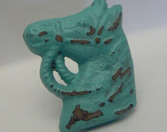Great Horse Head Knob Cast Iron Shabby Elegance Horsehead Distressed Aqua  Turquoise Drawer Pull Knob Cabinet Knobs