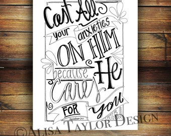 Printable coloring page of 1 Peter 5:7, Printable Bible Verse Coloring Page, Inspirational Quotes, DIY, Instant download,