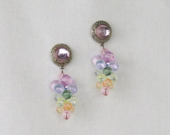 Vintage Beaded Earrings - Pastel Pierced Earrings, Vintage Jewelry