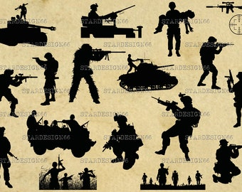 Digital SVG PNG JPG Soldiers, army, automatic rifle, sniper, vector, silhouette, instant download
