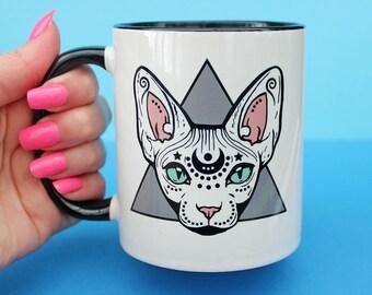 Mystical Sphynx cat mug  - hairless cat - cat lover - cat gift - magical cat - sphynx cat - cat mug