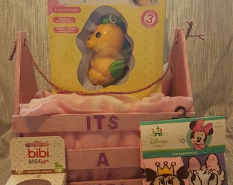 Handcrafted Crate - It's A Girl with filled with items for your bundle of joy or empty for you to fill