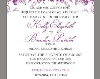 Antique Floral Elegant Wedding Invitation and RSVP Digital Download
