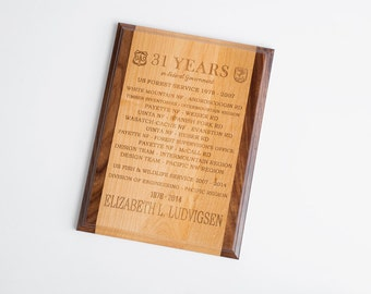 1 Personalized Engraved Plaque, Wood Plaque, Award, Trophy, Retirement, Corporate Gift, 1 Plaque