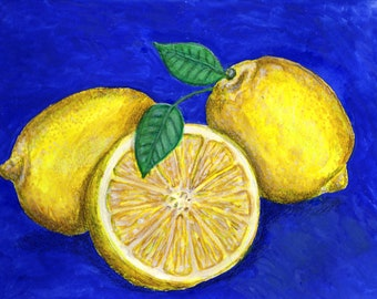 Lemons mixed media drawing, 9 x 11