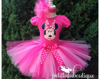 Pink Minnie Mouse Birthday Tutu set any size available 12m to 10y FREE Personalization of Name and Age
