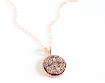 Rose gold druzy necklace - rose gold necklace dainty - rose gold necklace wedding - rose gold bridesmaid necklace - bridesmaid necklace