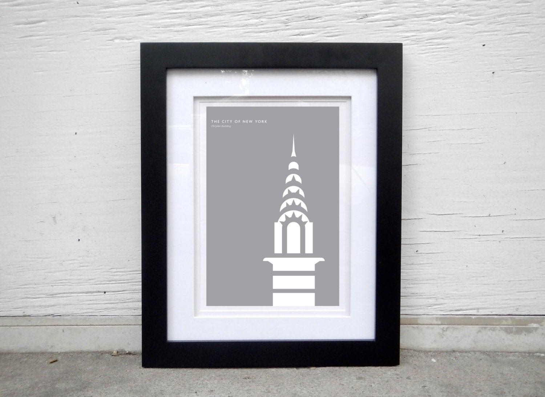 Chrysler Building modern art deco print for the home office