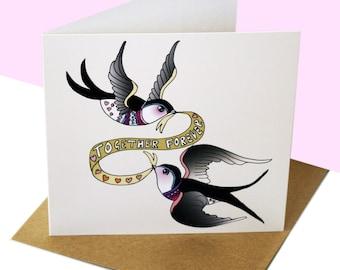 anniversary Card Other half valentines Swallows Birds Rockabilly For Him Her  tattoo Girlfriend Boyfriend Wedding Silver tierliebe Love ruby