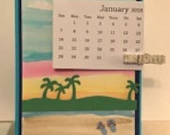 Hand Colored Beach Dual Sided Desktop Calendar
