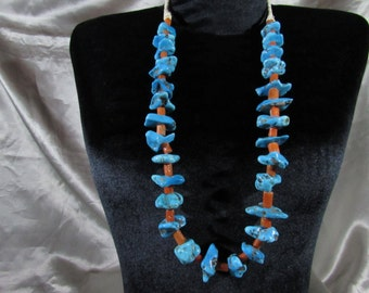 Long Gorgeous Navajo Nugget Turquoise & Unobtainable Mediterranean Coral Necklace!!!!!