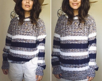 Vintage 70s // STRIPED COSY HANDKNIT Sweater // Longline Unisex Preppy Knit // Slouchy Snuggly Jumper // Size S - M