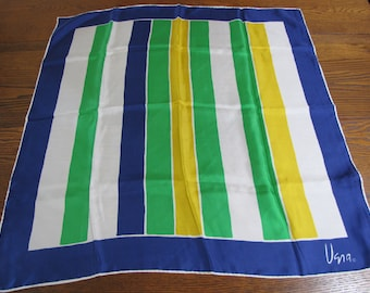 Vintage Vera Scarf, Vera Neumann Scarf, Silk Scarf, blue, green, stripes, Collectibles, Vintage Fashion, Accessories, Nautical, Japan, Mod