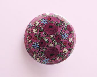 """Purple Rose Flower Garden Pinback Button, Small Round Button 1.25"""", Backpack Flair, Floral Art, Purple Flowers, Gifts Under 5, Gifts for Her"""
