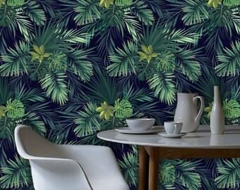 Dark Tropical Leaf Plant Wallpaper Green Palm Pattern Tree