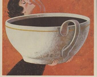 1960 Vintage Sanka Coffee Ad - John Falter Illustration - Coffee Print Ad - Retro Coffee Nostalgia - 1960s Kitchen Decor - Magazine Ad