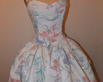 Custom Made to Order Floral Pastel Spring Pin Up Sweet Heart Strapless Ruffled Mini Dress
