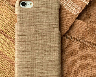 Personalized iPhone 7 plus case Personalized iPhone 8 plus case Brown Ivory Synthetic Cotton Minimalist Cool Grip Fabric iPhone Case