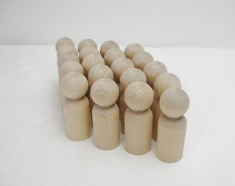 Wooden peg people, peg dad, unfinished DIY set of 20