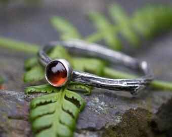 Garnet sterling ring, silver branch ring, twig ring, rustic ring, size 5.5