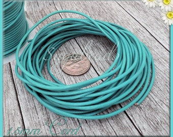 Turquoise Leather Cord, Round Leather Cord, 16 feet leather, 1.5mm thick cord, 1.5mm Leather Cord, Teal Leather Cord
