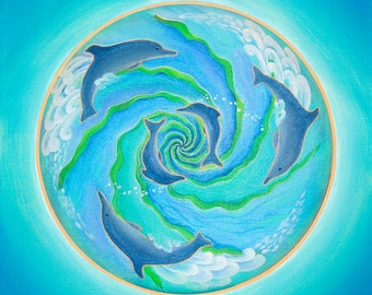 Dolphin Joy Mandala -  archival print on photo paper