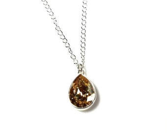 Pear-Shaped Golden Shadow Swarovski Crystal Pendant Choose Silver-Plated OR Sterling Silver Chain Minimalist Amber Jewelry Gifts for Her