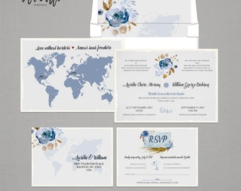 Destination wedding Floral bilingual wedding invitation Two Countries One Love Bilingual World Map French-English DEPOSIT Payment