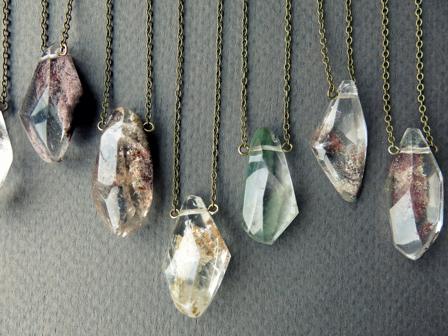 clear quartz necklace healing pendant crystal raw