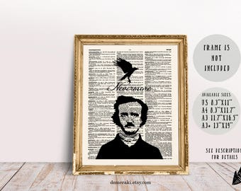 Edgar Allan Poe, The Raven, Nevermore, Dictionary Print, Wall Art Print, Book Page Print, Poe Print, Book Quote Print