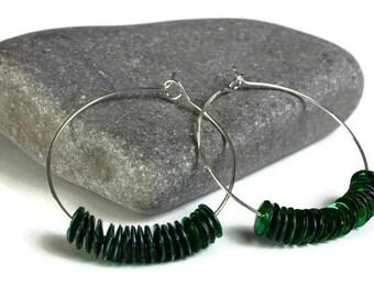 Green sequins hoop earrings (640)
