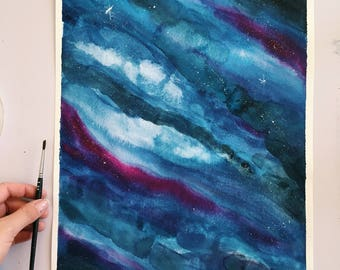 Watercolor Starry Night Sky Original Painting
