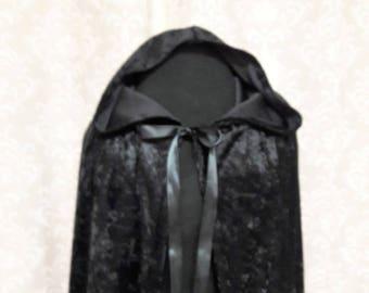 Black Hooded Cloak, Black Cape hooded, Cosplay Cape, LARP cloak, Halloween Cape, Goth Cape with Hood