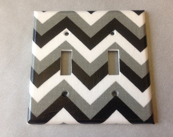 Black White and Gray chevron striped double light switch plate cover