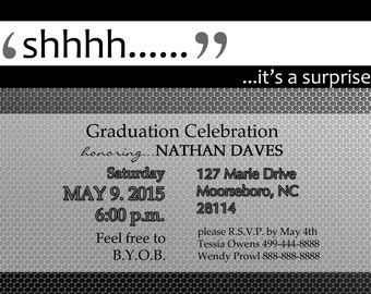 Mens Surprise Graduation or Birthday Party Invitation Digital Download File
