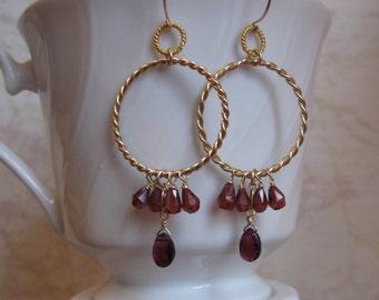 Garnet Hoop Earrings- Gold Filled, Twisted Rings