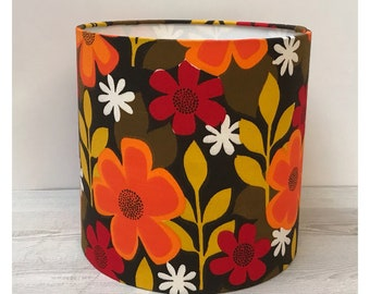 Vintage Retro 60s 70s Floral Fabric Lamp Shade