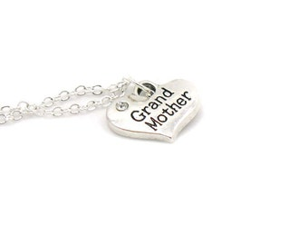 Grandmother Charm Necklace, Charm Jewelry, Grandmother Gift Necklace, Grandmother Pendant, Everyday Jewelry, Grandmother Heart Charm