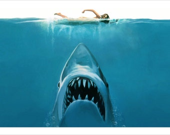 Jaws Shark Attack Painting Poster 24x36 Scary Ocean Swimming Teeth HOT NEW!