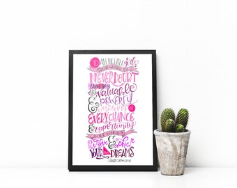 To all the little girls who are watching this...Hillary Clinton Speech Inspirational Quote Digital Print