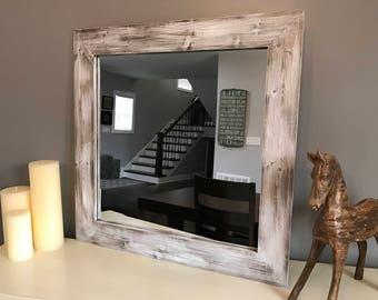 WHITEWASH Mirror, Wood Mirror, Framed Mirror, Rustic Wood Mirror, Bathroom Mirror, Wall Mirror, Vanity Mirror, Small Mirror, Large Mirror